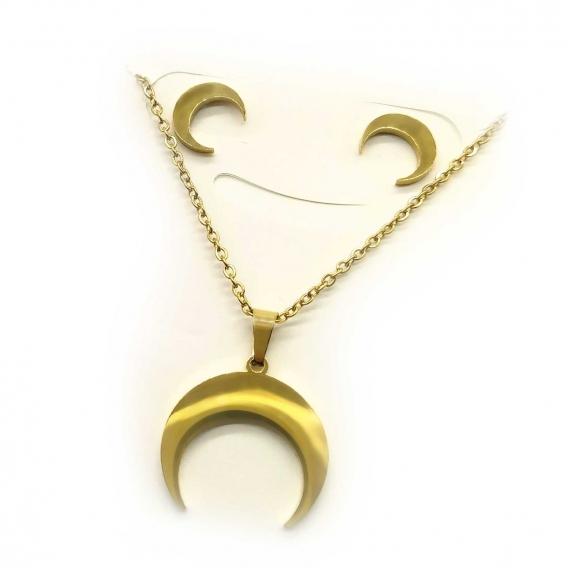 Conjunto para mujer ,de collar y pendientes de la luna invertida en dorado, acero inoxidable.