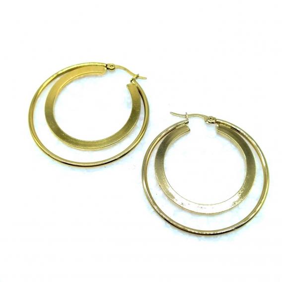 Pendientes de doble aro para mujer de acero inoxidable color dorado