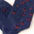 Calcetín largo azul con cerezas para hombre y mujer talla 35-40