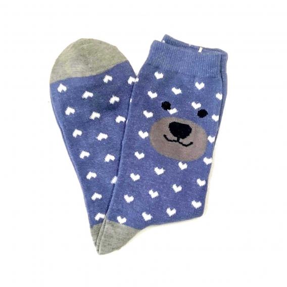 Calcetines largos azules de oso y corazones talla 35-40