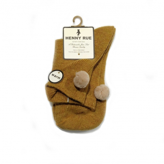 Calcetín marrón con pompón rosa para mujer talla 35-40