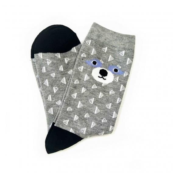 Calcetines grises con triángulos y mapache talla única 35-40