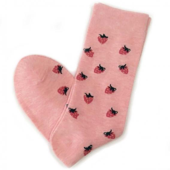 Calcetines largos rosas con dibujos de fresas talla 35-40