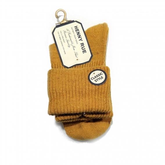 Calcetín color mostaza de algodón para mujer talla 35-40