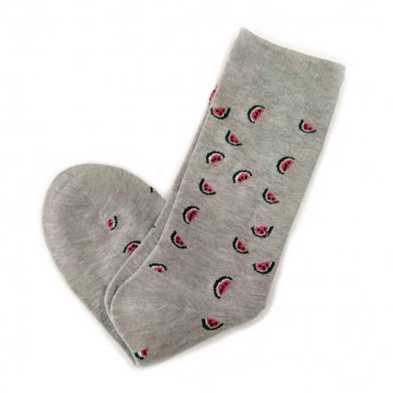 Calcetines grises con dibujos de sandía en la talla 35-40 para mujer u hombre