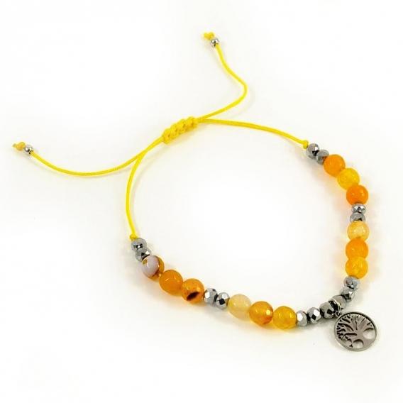 Pulseras brazaletes del arbol de la vida con abalorios color amarillo ajustable de mujer moda tendencias colgante acero