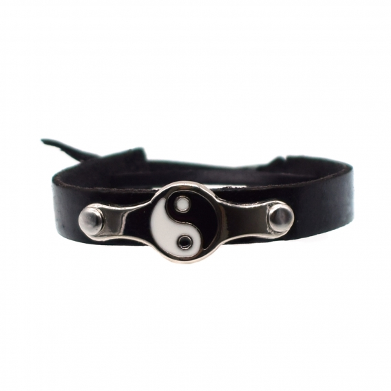 Pulsera yin yang color negro de cuero para regalo
