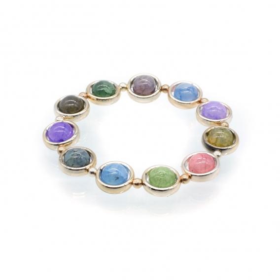Pulsera de piedras de varios colores elástica