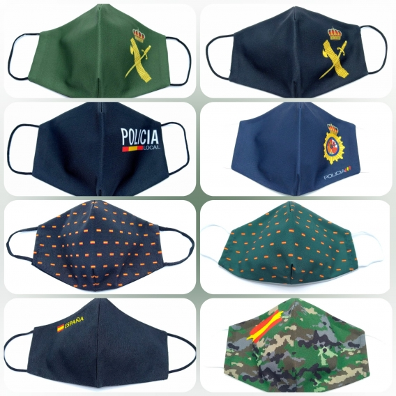 Mascarilla adulto reutilizable facial de tela con la bandera de España, diseño original, lavable con apertura para filtro.