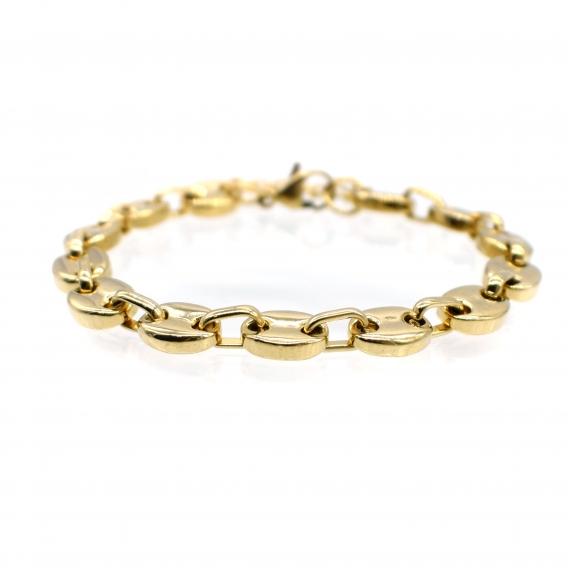 Pulsera de cadena con eslabones de acero dorada ancha para mujer