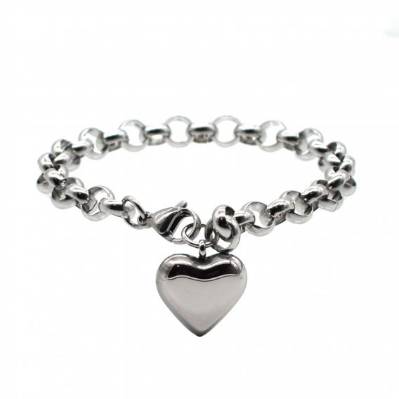 Pulsera corazón acero inoxidable color plata