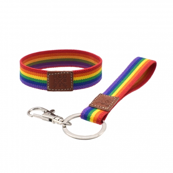 Pulsera y llavero LGTBI, lesbianas, orgullo gay y arcoiris, 2 piezas..