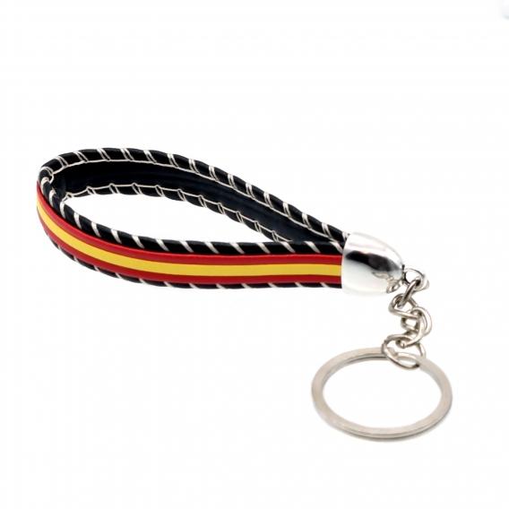 Llavero bandera de España con fondo negro para llaves de coche y casa.