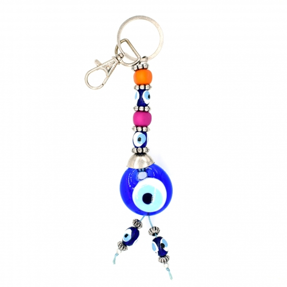 Llavero ojo turco de cristal con bolitas de colores