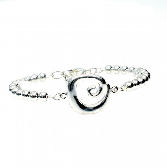 Pulsera bañada en plata de Ley 925 Espiral, cierre de mosquetón ajustable para mujer