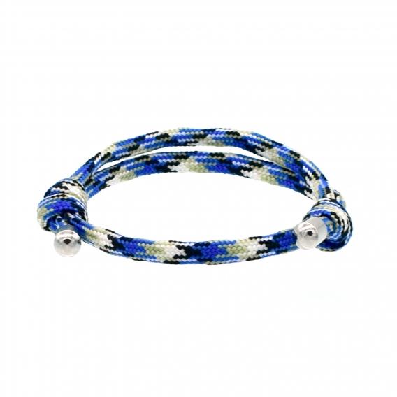 Pulsera cordón nudos corredizos azul jaspeado, amuleto suerte