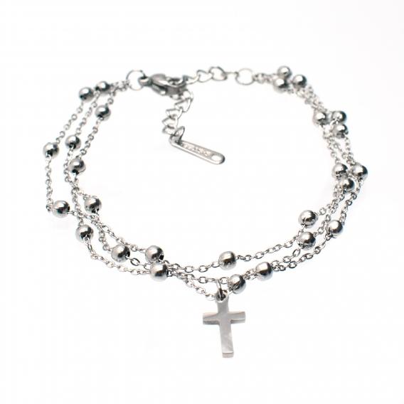 Pulsera triple cruz de plata de ley 925 ajustable