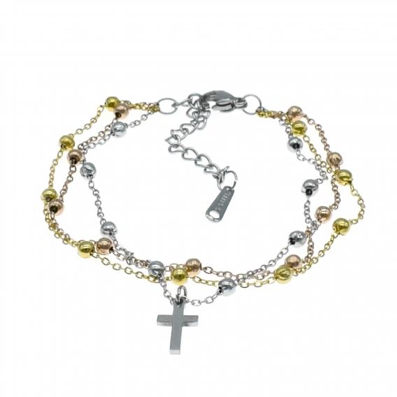 Pulsera triple de acero color tres oros,colgante en forma de cruz.