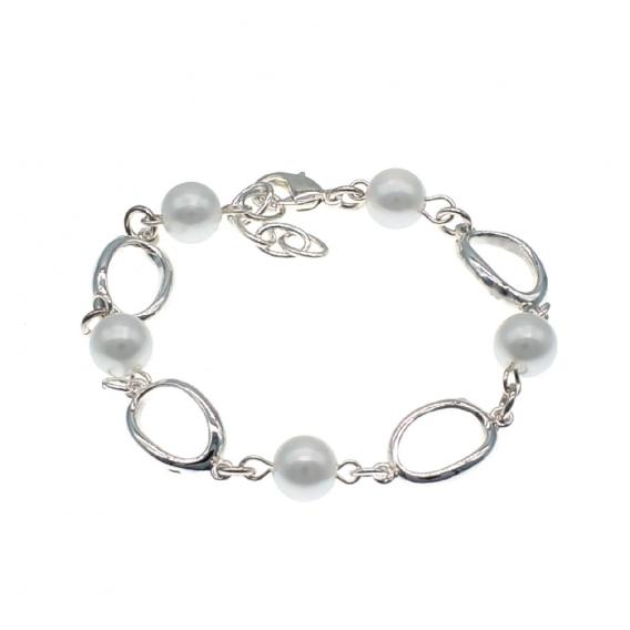 Pulsera perlas con plata de ley 925, brazalete para mujer