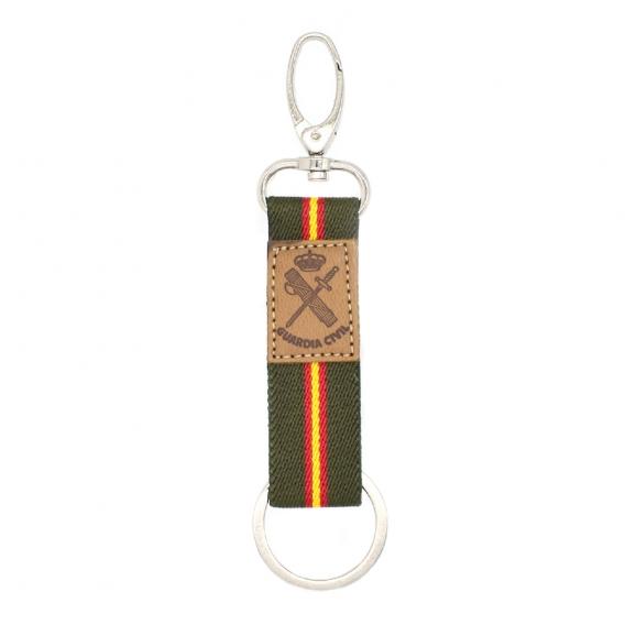 Llavero de guardia civil con lona verde y el escudo en cuero, regalo original.