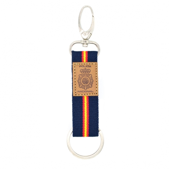 Llavero de guardia civil con lona azul marino y el escudo en cuero, regalo original.