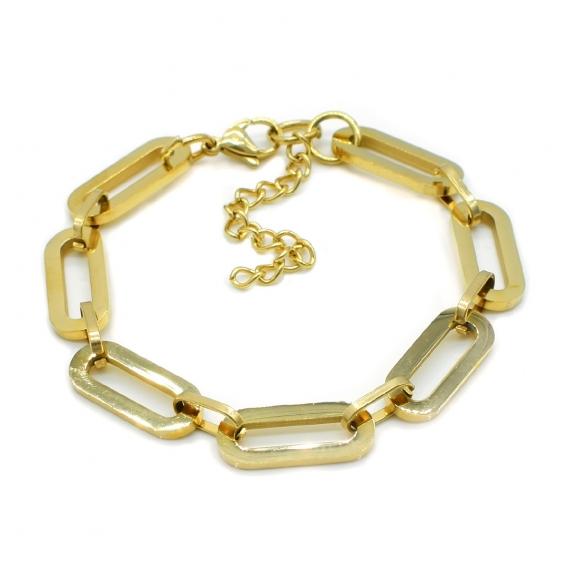 Pulsera acero de eslabones dorada ancha ajustable para mujer.