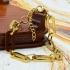 Pulsera de eslabones dorada ancha ajustable para mujer