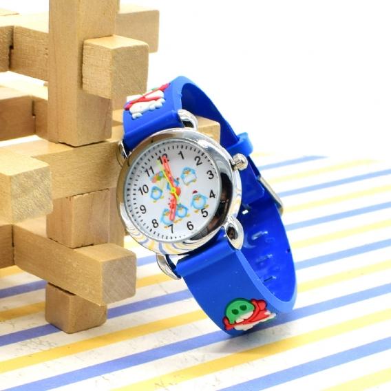 Reloj analógico infantil, color azul con dibujos. Regalo para niño