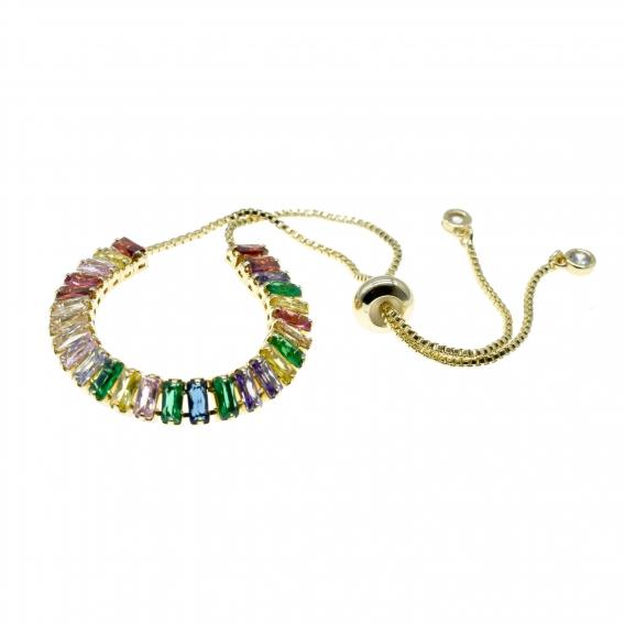 Pulsera para mujer, chapada en oro con cristales de colores. Un regalo original.