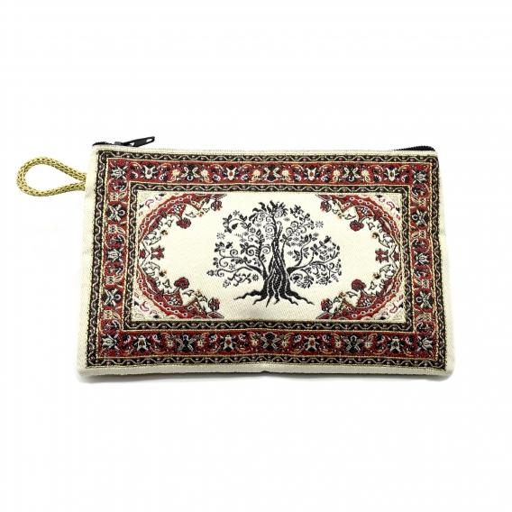 Monedero turco de tela con cremallera, árbol de la vida.