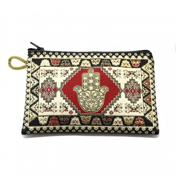 Monedero con cremallera de tela, mano de fatima, turco.