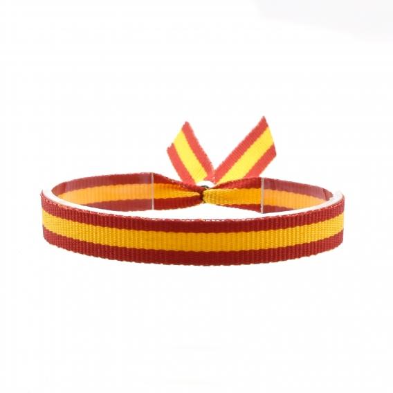 Pulsera de tela bandera de España con cierre ajustable, colgador de coche. Ancho 10 mm. Elegir cantidad