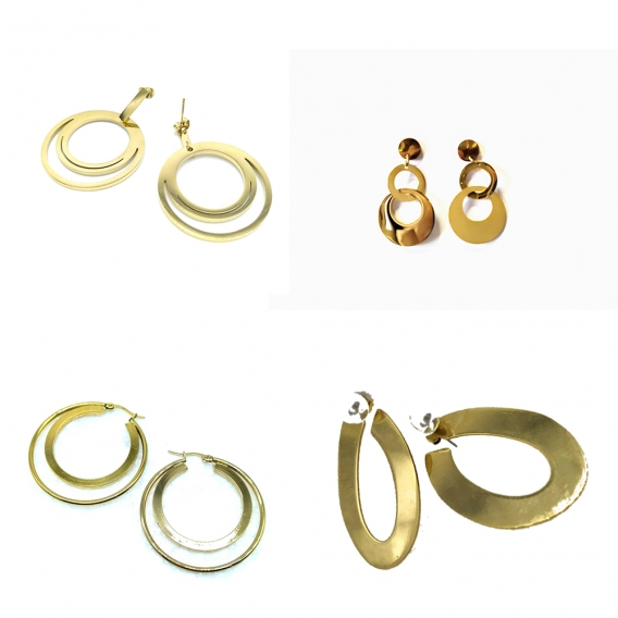 Pendientes de aro dorados originales para niñas y mujeres, elige tu favorito.
