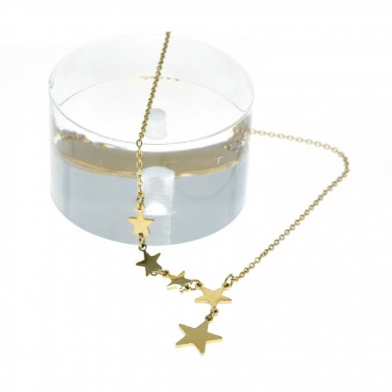 Collar de mujer con  estrellas color oro, acero.