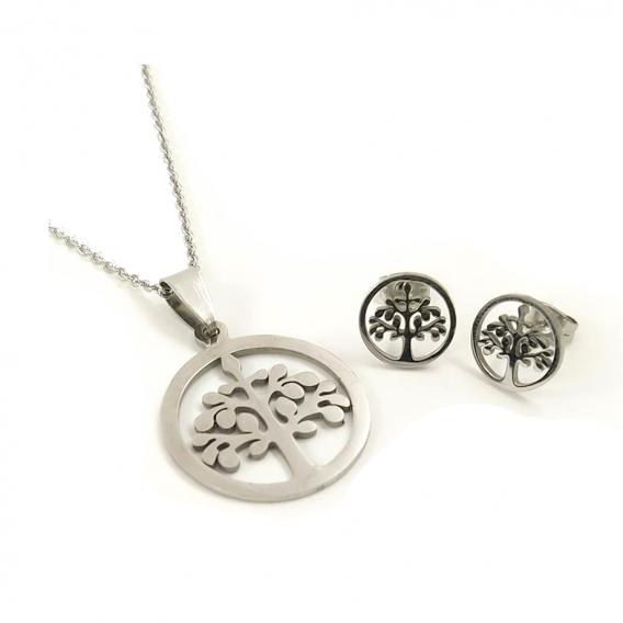 Conjunto de collar y pendientes de arbol de la vida de acero inoxidable para mujer de moda Original para regalo