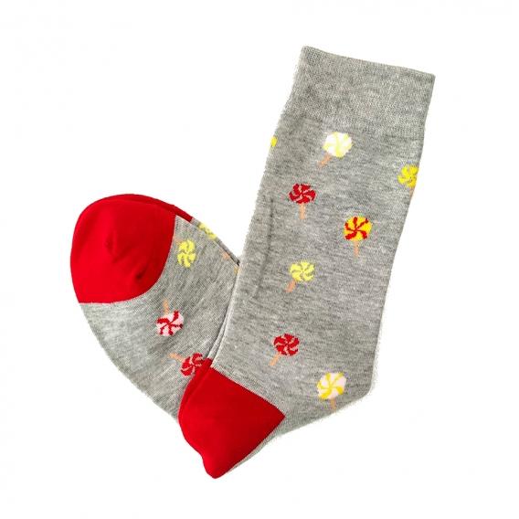 Calcetines de dibujos de piruletas con puntera roja en la talla 35-40 para mujer u hombre