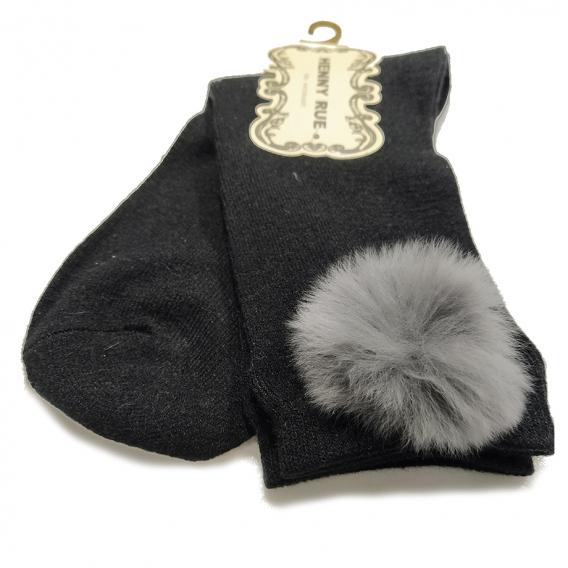 Calcetín de algodón negro liso con pompón talla 35-40