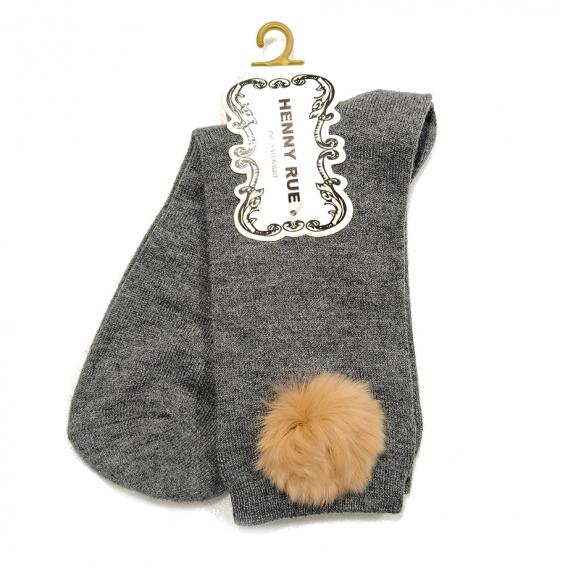 Calcetines grises con pompón en marrón claro de algodón  talla 35-40