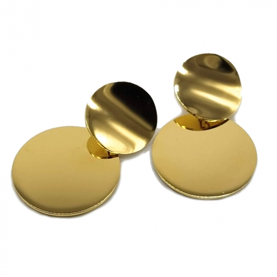 Pendiente para mujer redondo de color dorado y acero, un regalo original.