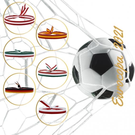 Pulsera tela Europea 2021, España, Alemania, Bélgica, Italia...fútbol para hombre y mujer.