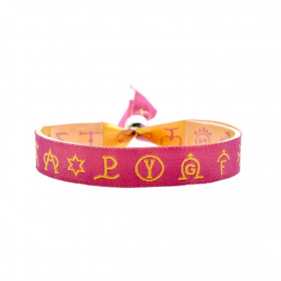 Pulsera de tela taurina rosa con símbolos representativos en amarillo. Cierre de bola ajustable para hombres y mujeres.