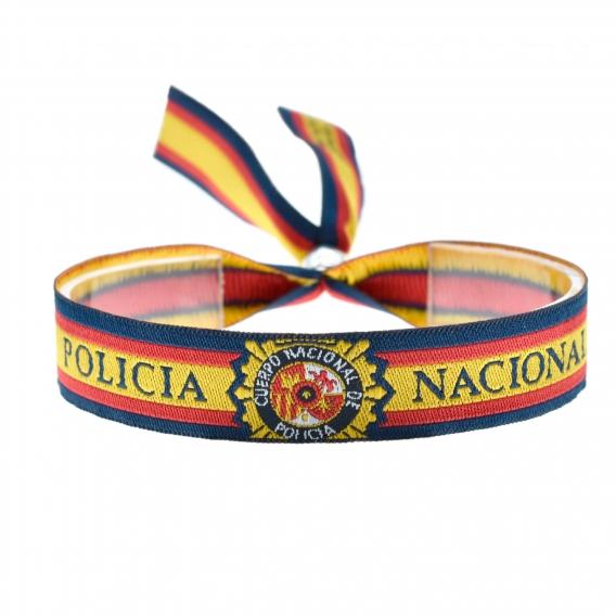 Pulsera de tela de la policía nacional con el escudo y la bandera española ajustable para hombres y mujeres