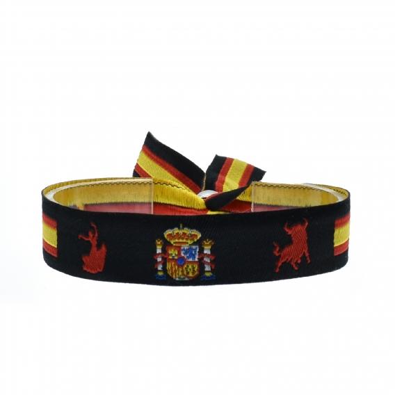 Pulsera de España con toro, escudo y flamenca negra