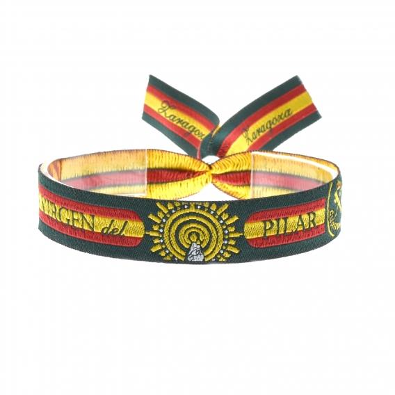 Pulsera Guardia Civil con la patrona virgen del Pilar y la bandera de España.