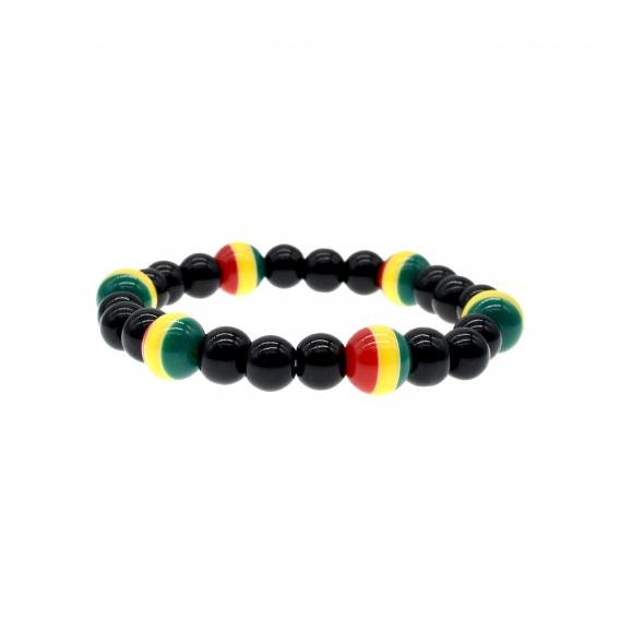 Rasta pulsera Hippie, Bod Marley. Brazalete Jamaicano de cuentas rojo, verde, amarillo y elástica.