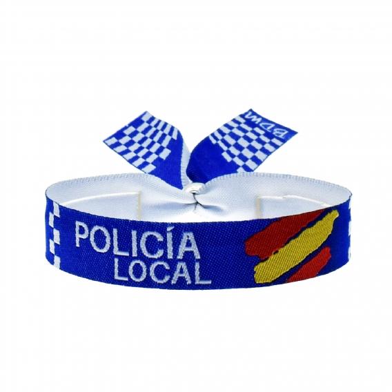 Pulsera de policía local y municipal España, pulsera opositor de tela para hombre ajustable. Regalos policia.