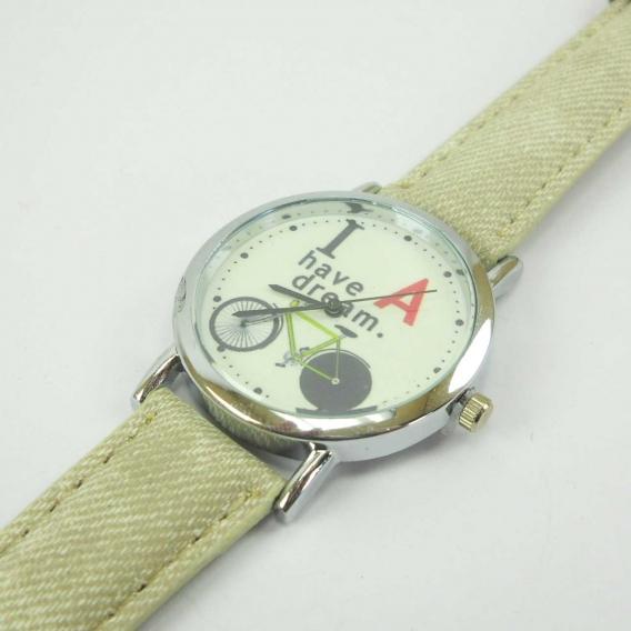 Reloj de correa color beig y bicicleta para mujer y jovenes