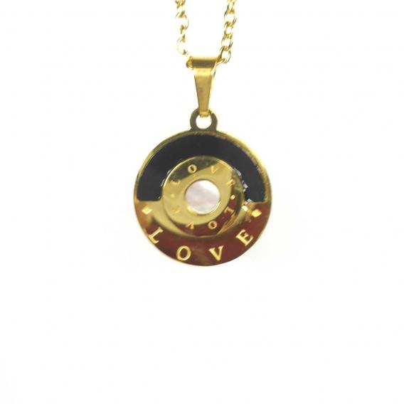 Collar colgante con cadena de acero inoxidable regalo moda mujer dorado love con nacar y esmaltado en negro