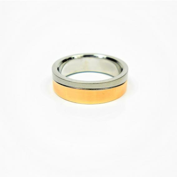 Anillo de acero noxidable unisex dos oros regalo