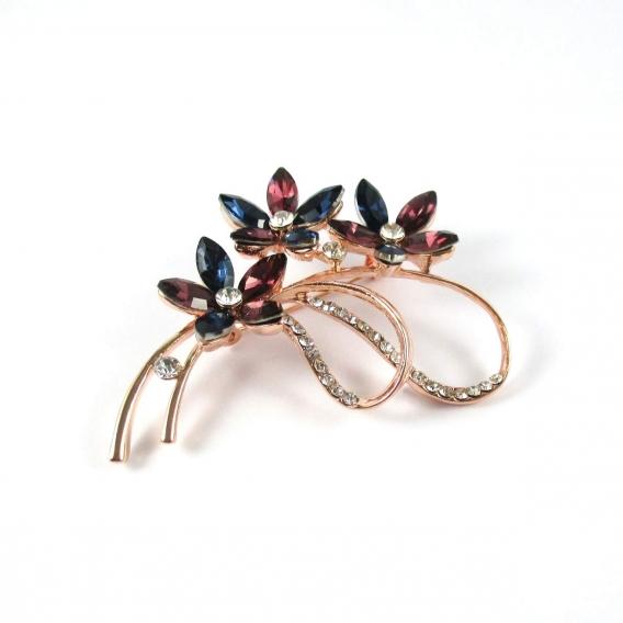 Broche LacerCrill de petalos y cristal facetado